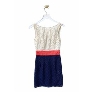 milly of new york lace color block dress v-back